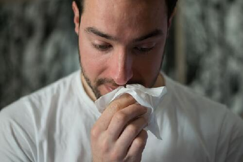 A person suffering from allergies